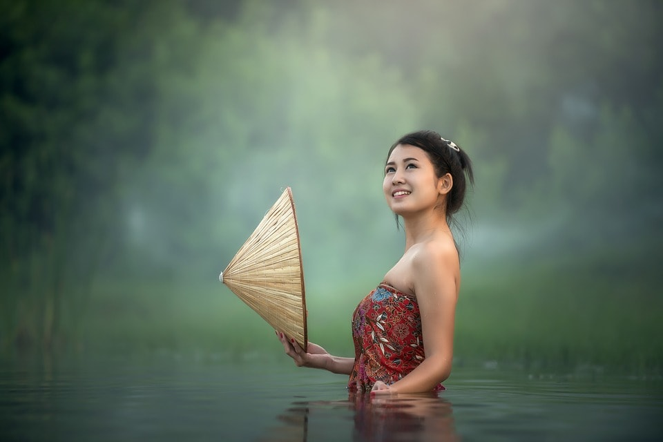 Girl in a pond